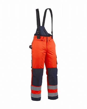 Blaklader 1885 Winter High Vis Trouser Polyester (Orange/Navy Blue)